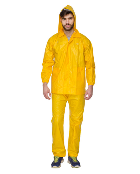 Raincoat for Men - Yellow Color | Plastic Fabric Rainwear | Versalis